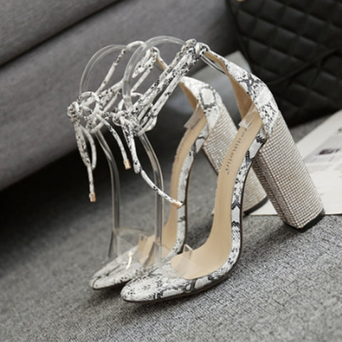 European and American foreign trade explosion point crystal diamond heel cross straps high-heeled shoes