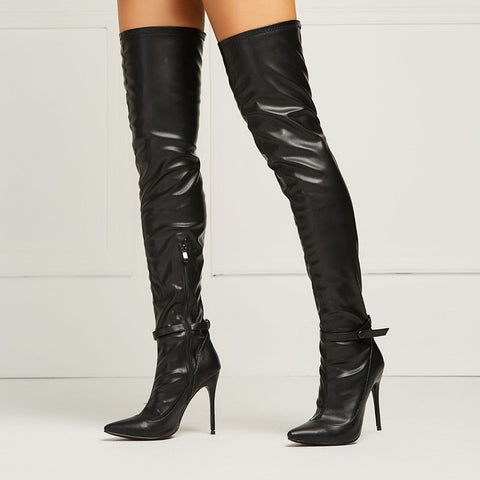 new concept 63dd4 0c570 azmodo Sexy Black Pointed Toe Over the Knee Stiletto Boots