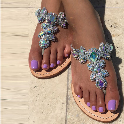 21306ca9415871 Women s Silver Jeweled Hand Crafted Crystal Flip Flops Rhinestones Flats  Sandals Y22