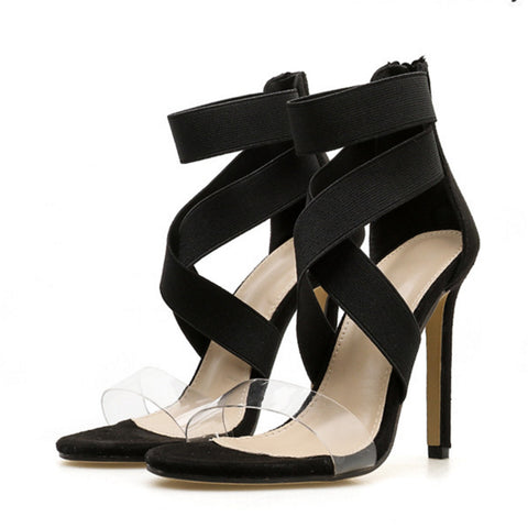 Patchwork Zipper Stiletto Heel Sandals Ankle Strap Cross-tied Sexy Snakeskin Lace-Up Sandals Open Toed High Heels Sexy Women Heel Sandals Party Pumps