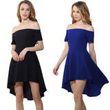 Women Cute Pleated Black Dresses Short Sleeve Front Short Long Back Slash Neck Evening Party Dress