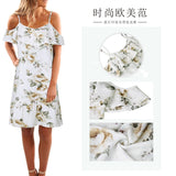 Women's Printed Sexy Sling Flying Sleeve Dress