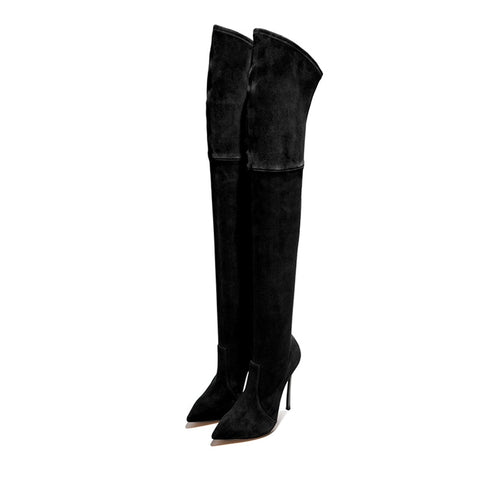 azmodo Suede Pointed Toe Stiletto Heel Thigh High Boots