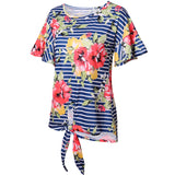 Women's T-shirt Round Neck Print Sleeve Loose Knot Short Sleeve