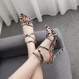 Women's shoes Simmi INS hot pointed peep toe stilettos high heels sandals woman shoes zebra leopard stripe lady party shoe