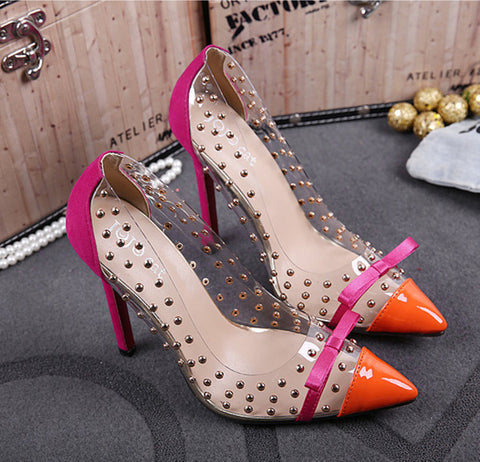 Graceful Rivets Pointed-toe Heels jum633