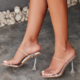 New PVC Jelly Sandals Crystal Open Toed Sexy Thin Heels Crystal Women Transparent Heel Sandals Slippers