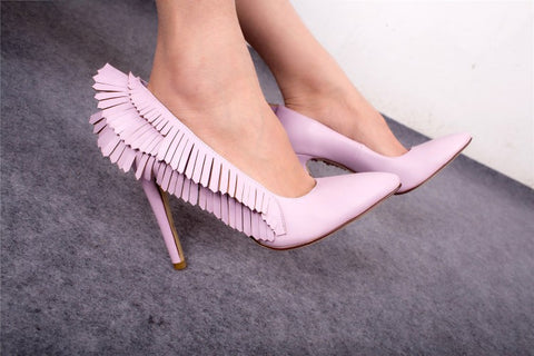 Pink women's shoes pointed wings angel high heel women's fashion shoes