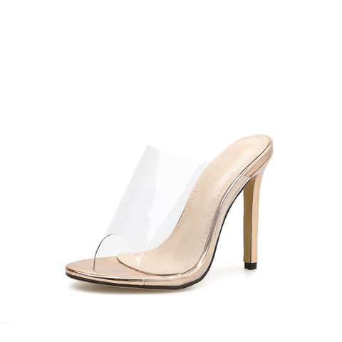 New PVC Jelly Sandals Crystal Open Toed Sexy Thin Heels Crystal Women Transparent Heel Sandals Slippers Pumps