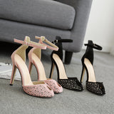 Nude pink rhinestone princess shoes high-heeled side empty word with women's shoes