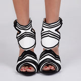 AZMODO  Black & White Two Tone Cut Out Dress Sandals