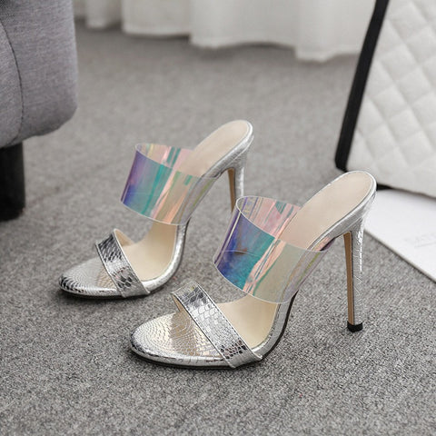azmodo Jelly Stiletto Heel Backless Color Block Mules