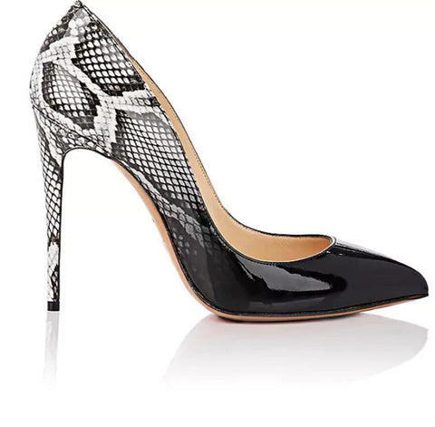 Black&White Serpentine Sex High Heels Pumps Woman New Party Stiletto Shallow Women Shoes 8cm/10cm/12cm Thin Heels Brand Sandals