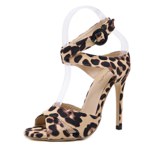 2019 Summer New Leopard Print Shoes Women Sandals Sexy Open Toe Gladiator High Heels Buckle Strap Women Shoes Size 35-40