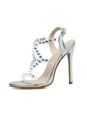 Women Wedding Party Shoes Fashion PVC Transparent Crystal Rhinestone Slides Sandals Ankle Buckle Strap Stiletto Heels