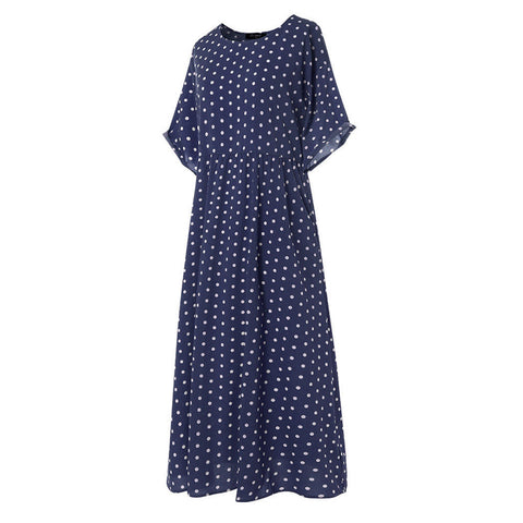 Women vintage O-Neck long maxi dress Dot Peinted Casual summer Dress beach boho dresses