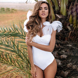 Sexy solid color mesh strappy one-piece swimsuit female