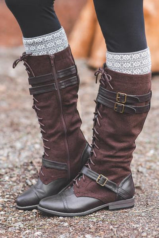 Buckles Decoration Lace up Square Heel Ankle Boots Buckles Decoration Lace up Square Heel Ankle Boots