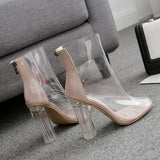 Sexy PVC Transparent Boots Sandals Peep Toe Shoes Clear Chunky heels Sandals Mujer Women Boots Zipper New Spring/Autumn