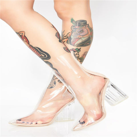 New Women Fashion Peep Toe High Heels Sandals Boots Shoes Woman Party Wedding Transparent Crystal Square Heel Boots