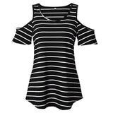 Women's round collar strapless sleeve striped short-sleeved T-shirt