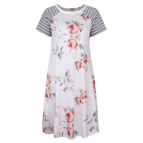 Dresses Short-sleeved round neck stitching print dress