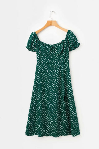 Summer Vintage Party Dress Square Collar Ruffle Elegant Sexy Dress Beach Female Green Mid Dresses Vestidos