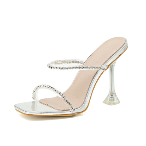 Women's square head stiletto heels thin tape with rhinestone sandals plus size 42
