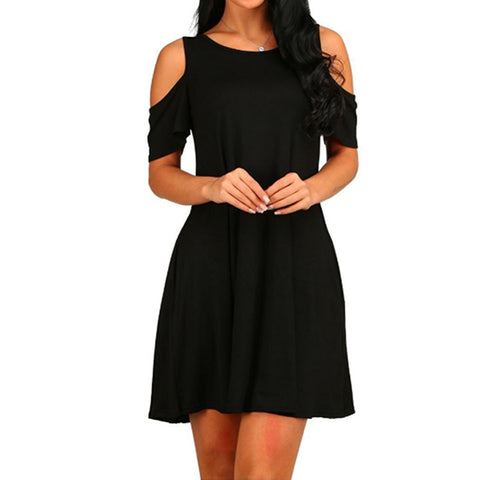 Women's Solid Color Off-Shoulder Short Sleeve Dress