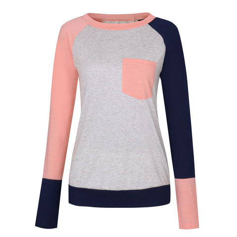 Women's T-shirt T-shirt stitching long-sleeved pocket T-shirt