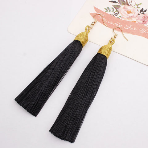 New Fashion Hook Earring Long Tassel Dangle Earrings Fringe Drop Women Jewelry