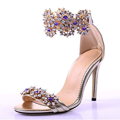 azmodo Women's Luxurious Rhinestone Flower Crystal Peep Toe Wedding Dress Sandals