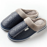 Winter Home Indoor Waterproof Non-slip Cotton Slippers Female  Leather Thick Bottom Couple Slippers.