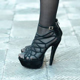 AZMODO Black Butterfly Cut-Outs Style Stiletto Heel Peep Toe Sandals