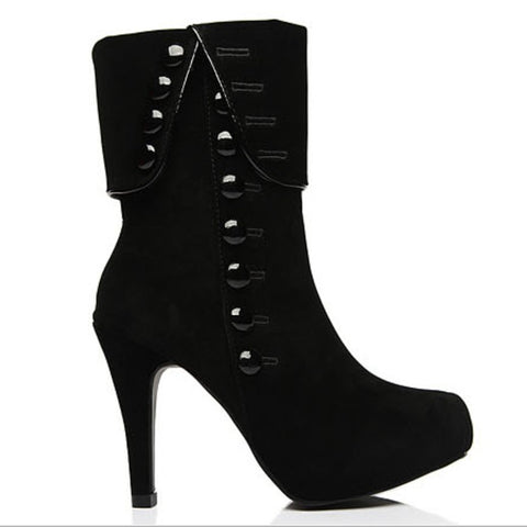 Suede high-heeled boots Europe and the United States style round suede buckle design zipper open boots high-heeled ladies Martin boots