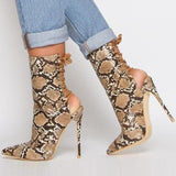 azmodo Stylish Lace-Up Pointed Toe Stiletto Heel Hollow Boots