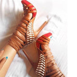 azmodo Trendy Zipper Stiletto Heel Sandals