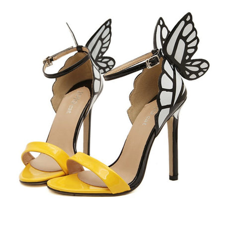 Multicolor Luxury Brand Wedding Dress Shoes Butterfly Party Shoes Sexy Sandals Color Black Blue Silver Open Toe High Thin Heelumps Purple Gold Beige