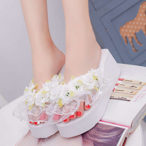 Woman Wedge Platform Flower Flip Flops Slippers H88