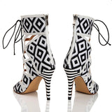 AZMODO Fashionable Elegant Black & White Cut-Outs Dress Sandals