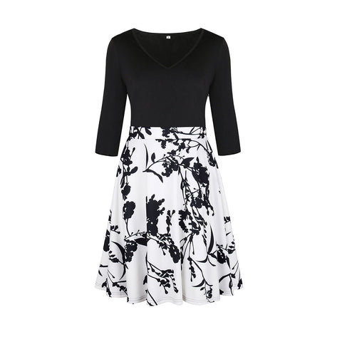 Women's V-neck Printed Sweater Dress