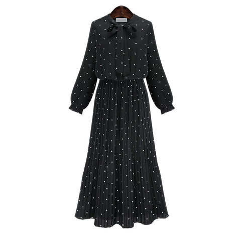 2020 New Spring Round Neck Long Sleeve Solid Black Chiffon Dot Loose Big Size Dress Women Fashion