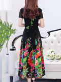 Square Neck Chiffon Printing Women's Maxi Dress