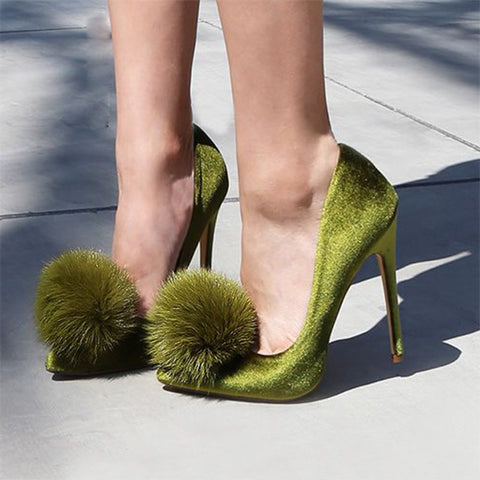 Green Slip-On Stiletto Heels