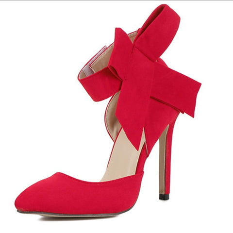 Glaring Red Pointed Toe High Heel Bow Sandals