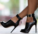 azmodo Black High Heel Sexy Ankle Boots