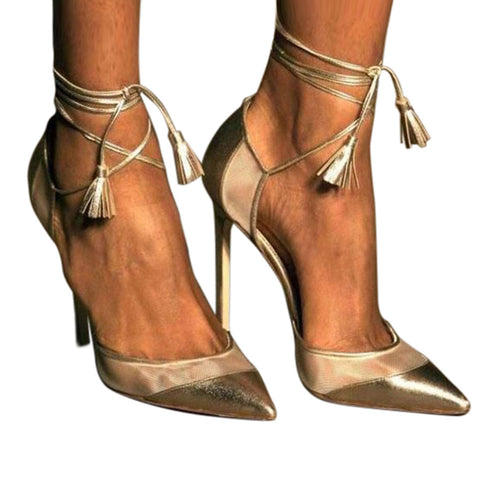 AZMODO Gold Straps Dress Sandals Pointed-toe Gold Stiletto Heels
