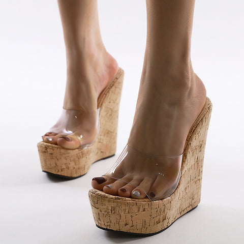 Woman Fashion Transparent PVC Platform Sandals Wedge High Heels Wood Heels Sandals Slip on Shoes