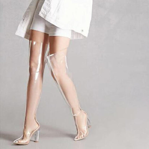 Fully transparent over the knee boots thick with high heel pointed over the knee long tube large size women's boots tide