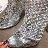 Stylish Peep Toe Stiletto Heel Rhinestone Pumps